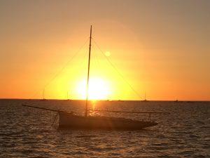 sunset over peal boat Camper Trailer Hire Destinations